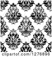 Clipart Of A Seamless Patterned Background Of Black Floral Damask On White 2 Royalty Free Vector Illustration