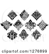Clipart Of Black And White Arabesque Damask Designs 8 Royalty Free Vector Illustration by Vector Tradition SM