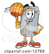 Clipart Picture Of A Garbage Can Mascot Cartoon Character Spinning A Basketball On His Finger