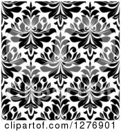 Clipart Of A Seamless Patterned Background Of Black Floral Damask On White 4 Royalty Free Vector Illustration