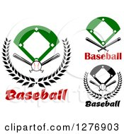 Clipart Of Baseball Diamond Fields With Crossed Bats Balls And Text Royalty Free Vector Illustration