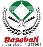 Clipart Of A Baseball Diamond Field With A Ball And Crossed Bats In A Wreath Over Red Text Royalty Free Vector Illustration