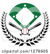 Clipart Of A Baseball Diamond Field With A Ball And Crossed Bats In A Wreath Royalty Free Vector Illustration by Vector Tradition SM