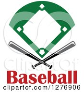 Clipart Of A Baseball Diamond Field With Crossed Bats Over Red Text Royalty Free Vector Illustration