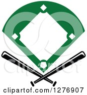 Clipart Of A Baseball Diamond Field With Crossed Bats Royalty Free Vector Illustration by Vector Tradition SM