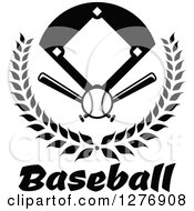 Clipart Of A Black And White Baseball Diamond Field With A Ball And Crossed Bats In A Wreath Over Text Royalty Free Vector Illustration