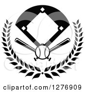 Clipart Of A Black And White Baseball Diamond Field With A Ball And Crossed Bats In A Wreath Royalty Free Vector Illustration by Vector Tradition SM