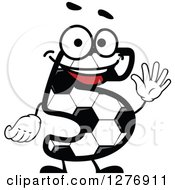 Soccer Ball Number Five Character Holding Up 5 Fingers
