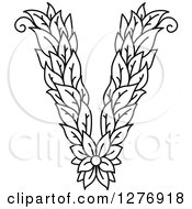 Clipart Of A Black And White Floral Capital Letter V With A Flower Royalty Free Vector Illustration