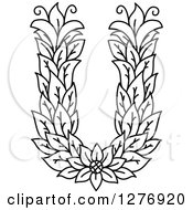 Clipart Of A Black And White Floral Capital Letter U With A Flower Royalty Free Vector Illustration