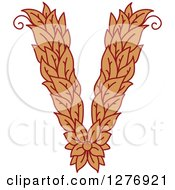 Clipart Of A Floral Capital Letter V With A Flower Royalty Free Vector Illustration