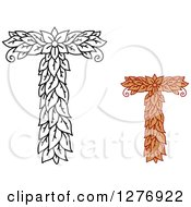 Clipart Of Black And White And Colored Floral Capital Letter T Designs Royalty Free Vector Illustration
