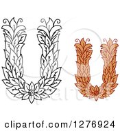 Clipart Of Black And White And Colored Floral Capital Letter U Designs Royalty Free Vector Illustration