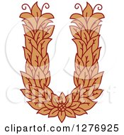 Clipart Of A Floral Capital Letter U With A Flower Royalty Free Vector Illustration