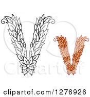 Clipart Of Black And White And Colored Floral Capital Letter V Designs Royalty Free Vector Illustration