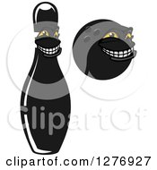 Poster, Art Print Of Grinning Black Bowling Pin And Ball Characters