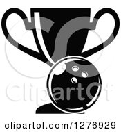 Clipart Of A Black And White Trophy Cup And Bowling Ball Royalty Free Vector Illustration