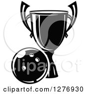 Poster, Art Print Of Black And White Trophy And Bowling Ball