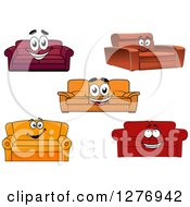 Clipart Of Happy Cartoon Couches Royalty Free Vector Illustration
