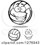 Clipart Of A Grinning Happy Face And Volleyballs Royalty Free Vector Illustration