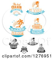 Clipart Of Summer Time Designs 4 Royalty Free Vector Illustration