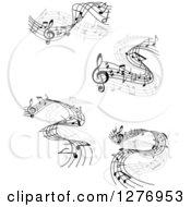 Clipart Of Grayscale Flowing Music Note Wave Designs 2 Royalty Free Vector Illustration