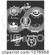 Clipart Of White Tailor Designs On Dark Gray Royalty Free Vector Illustration by Vector Tradition SM