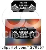 Clipart Of Welcome Barber Shop Designs With Blow Dryers Royalty Free Vector Illustration