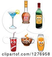 Clipart Of Happy Beverage Characters Royalty Free Vector Illustration