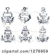 Clipart Of Navy Blue Nautical Anchors And Banners Royalty Free Vector Illustration