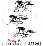 Clipart Of Black And White Running Horses And Red Text Royalty Free Vector Illustration