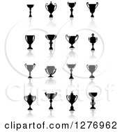 Clipart Of Black Silhouetted Trophy Cups Urns And Reflections 3 Royalty Free Vector Illustration