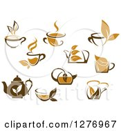 Poster, Art Print Of Leafy Brown Tea Cups And Kettles 4