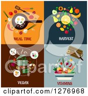 Clipart Of Meal Time Harvest Vegan And Vitamins Designs Royalty Free Vector Illustration by Vector Tradition SM
