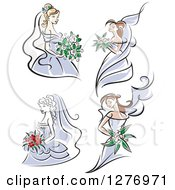 Clipart Of Brides In Periwinkle Dresses Royalty Free Vector Illustration