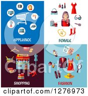 Clipart Of Appliance Female Shopping And Fashion Designs Royalty Free Vector Illustration