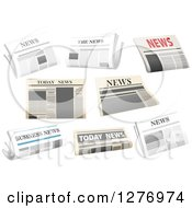 Clipart Of White And Recycled Newspapers Royalty Free Vector Illustration