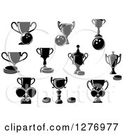 Clipart Of Black And White Bowling Hockey And Ping Pong Trophies Royalty Free Vector Illustration by Vector Tradition SM
