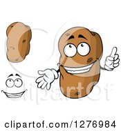 Clipart Of Russet Potatos And A Face Royalty Free Vector Illustration