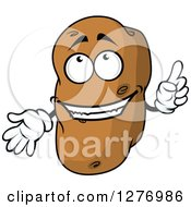 Clipart Of A Russet Potato Character Holding Up A Finger Royalty Free Vector Illustration
