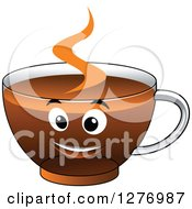 Clipart Of A Happy Glass Cup Of Hot Tea Or Coffee Royalty Free Vector Illustration
