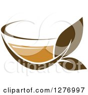 Clipart Of A Leafy Brown Tea Cup 28 Royalty Free Vector Illustration by Vector Tradition SM
