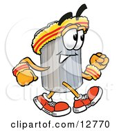 Clipart Picture Of A Garbage Can Mascot Cartoon Character Speed Walking Or Jogging