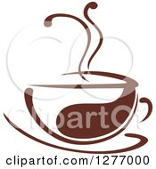 Clipart Of A Dark Brown And White Steamy Coffee Cup 37 Royalty Free Vector Illustration by Seamartini Graphics