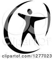 Clipart Of A Black And White Archer Aiming Royalty Free Vector Illustration