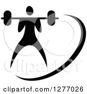 Clipart Of A Black And White Bodybuilder With A Barbell Royalty Free Vector Illustration by Vector Tradition SM