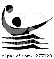Clipart Of A Black And White Water Polo Player Royalty Free Vector Illustration by Vector Tradition SM