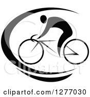 Clipart Of A Black And White Cyclist And Swoosh Royalty Free Vector Illustration