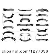 Clipart Of Black And White Blank Ribbon Banners Royalty Free Vector Illustration