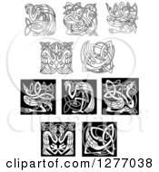 Clipart Of Black And White Celtic Heron Or Stork Knots 2 Royalty Free Vector Illustration